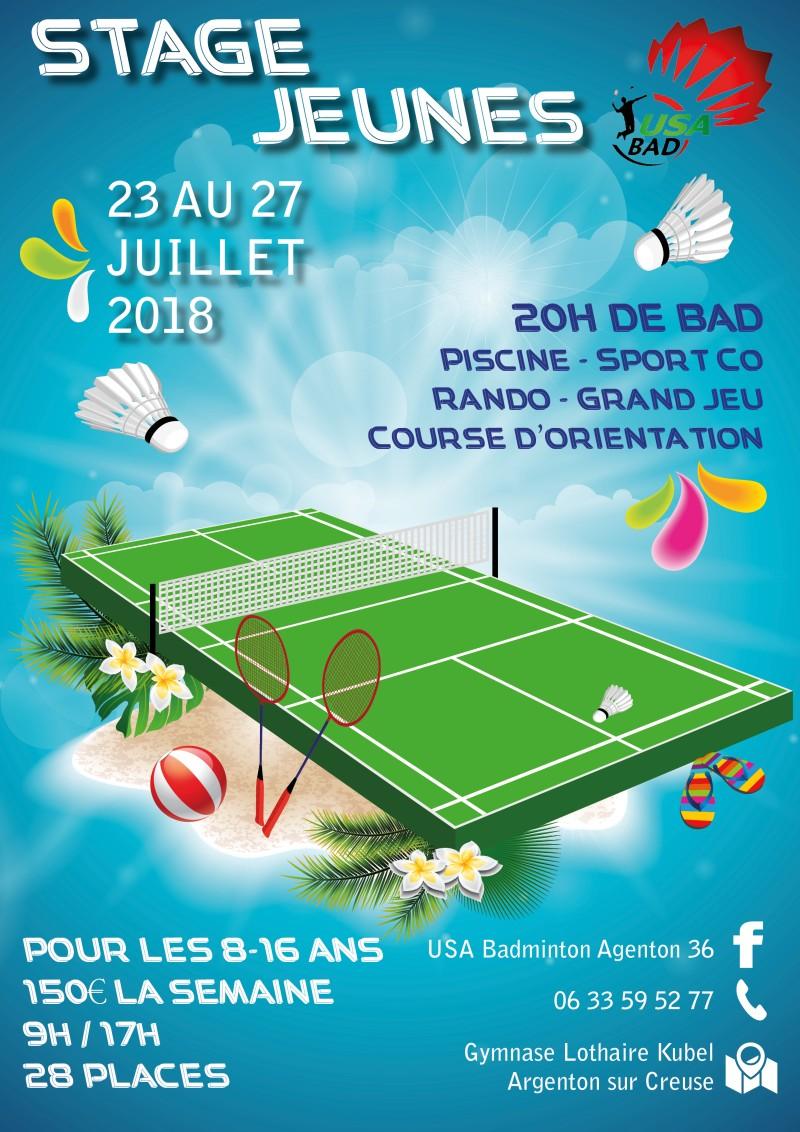 Stage de badminton jeunes juillet 2018