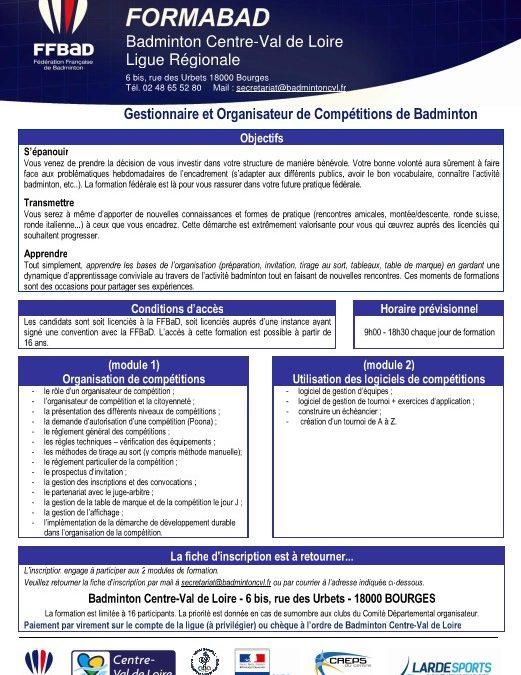 Gestionnaire et Organisateur de Compétitions de Badminton