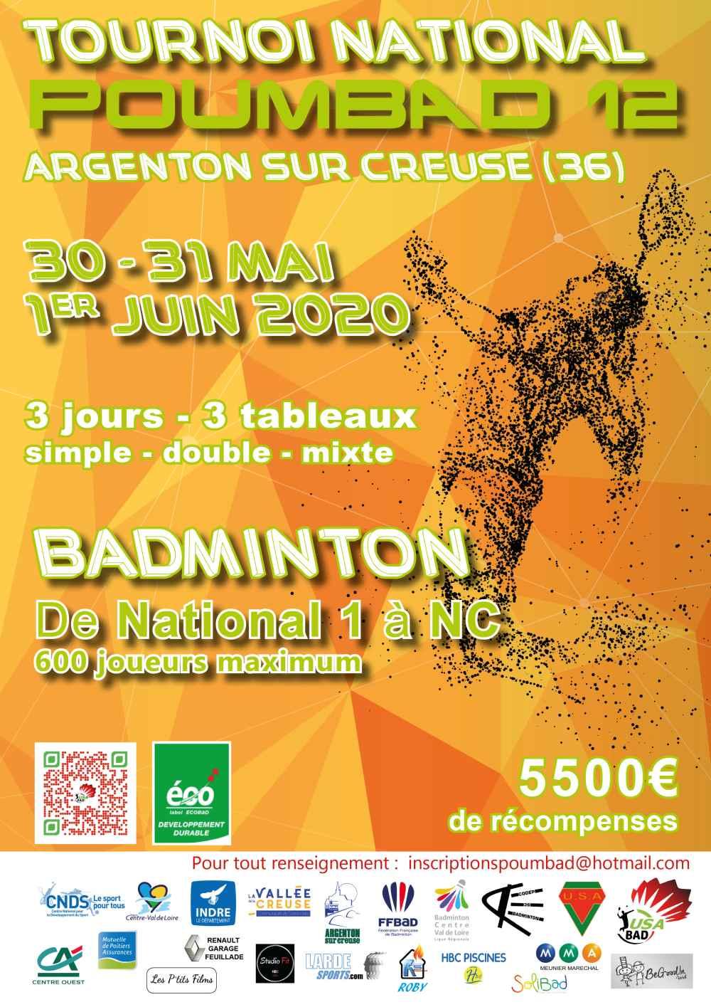 Affiche Poumbad 12 badminton 2020