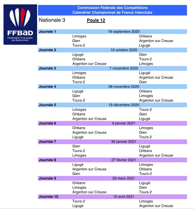 calendrier badminton n3 2021